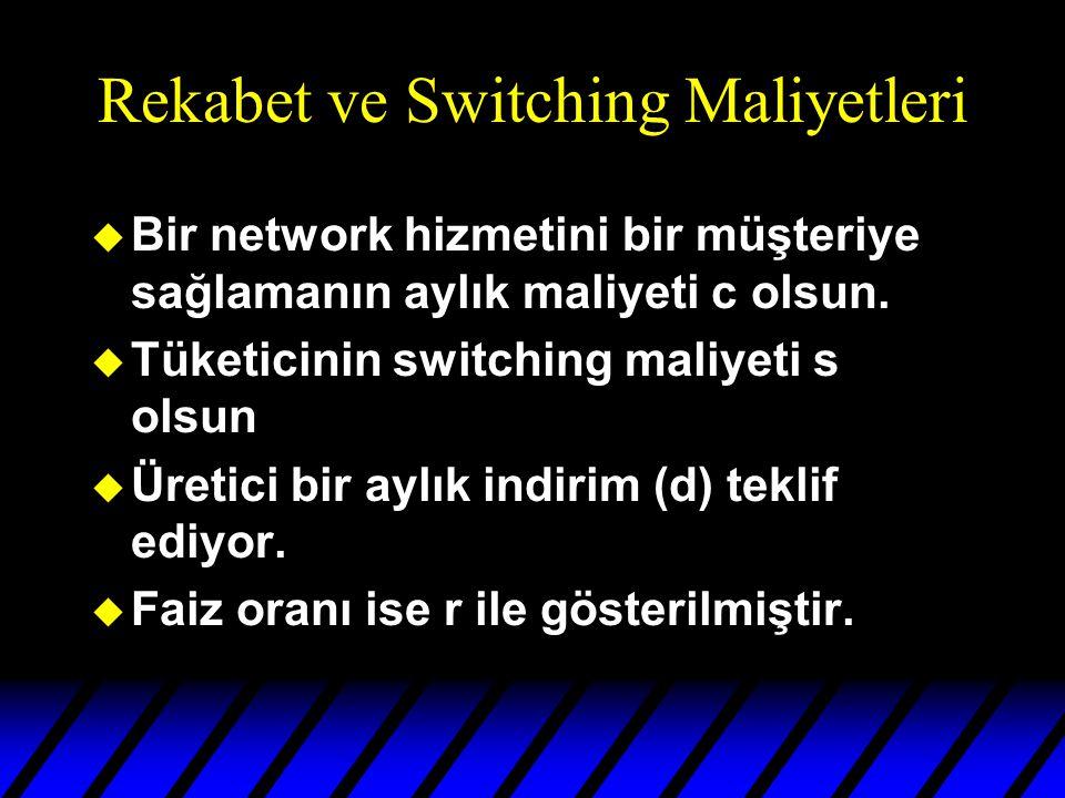 Rekabet ve Switching Maliyetleri u Bir network hizmetini bir müşteriye sağlamanın aylık maliyeti c olsun.
