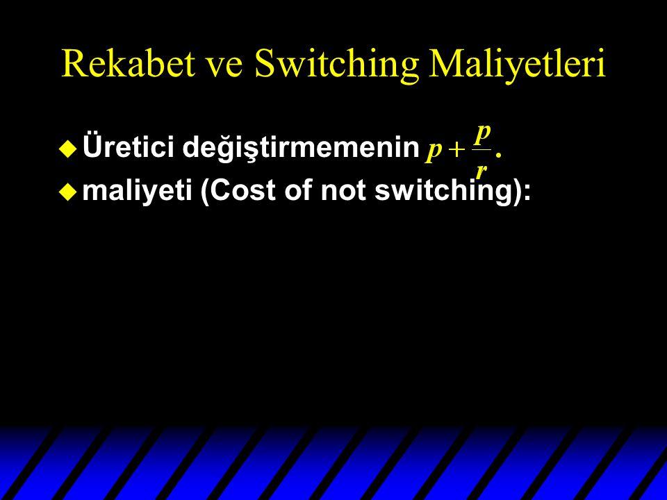 Rekabet ve Switching Maliyetleri u Üretici değiştirmemenin u maliyeti (Cost of not switching):