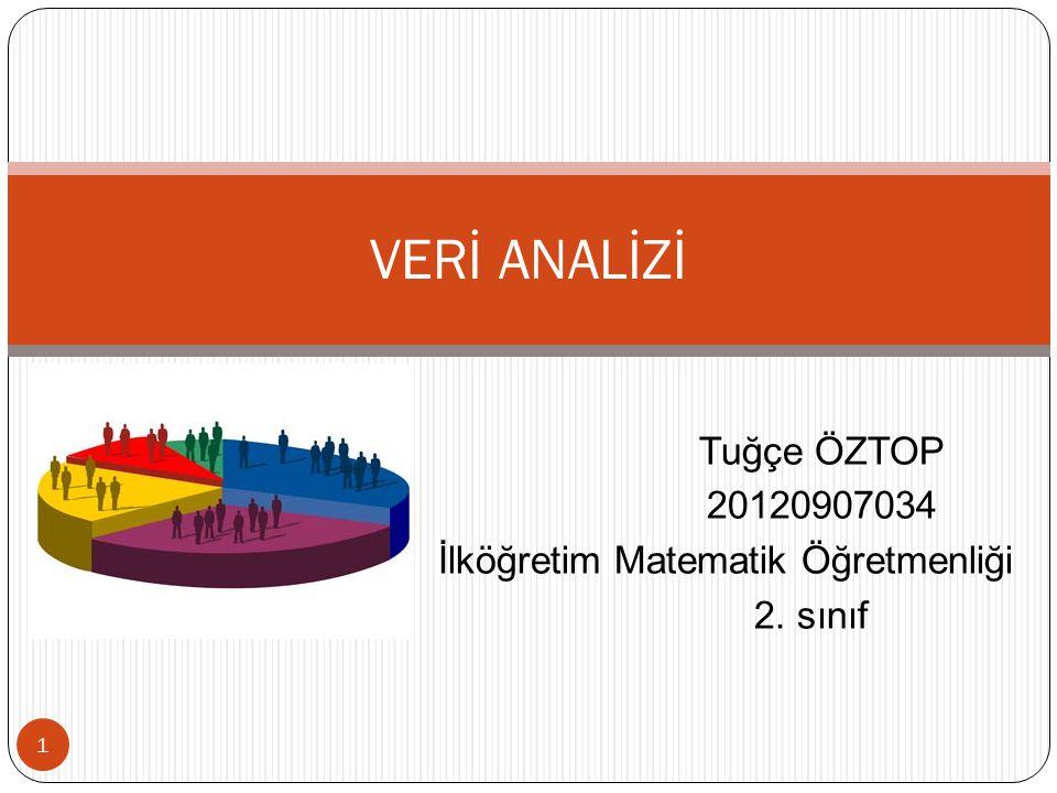 Tuğçe ÖZTOP 20120907034 İlköğretim Matematik Öğretmenliği 2. sınıf 1 VERİ ANALİZİ