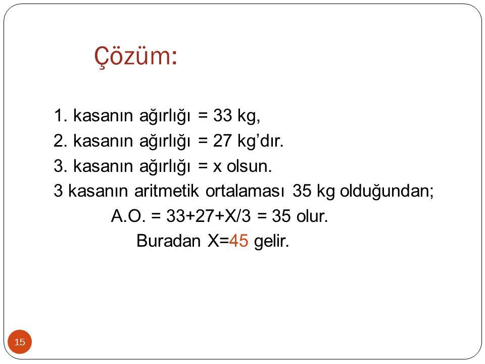 Çözüm: 15 1. kasanın ağırlığı = 33 kg, 2. kasanın ağırlığı = 27 kg'dır. 3. kasanın ağırlığı = x olsun. 3 kasanın aritmetik ortalaması 35 kg olduğundan