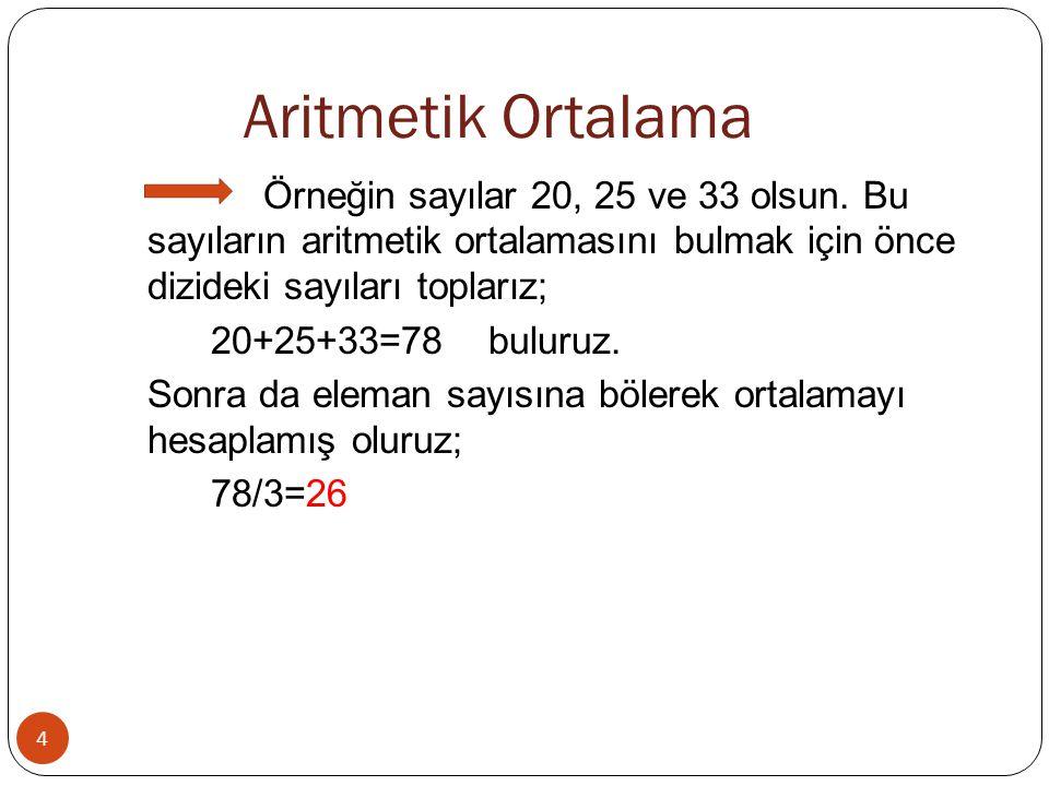 Aritmetik Ortalama 4 Örneğin sayılar 20, 25 ve 33 olsun. Bu sayıların aritmetik ortalamasını bulmak için önce dizideki sayıları toplarız; 20+25+33=78