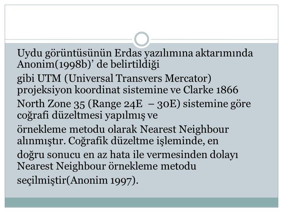 Uydu görüntüsünün Erdas yazılımına aktarımında Anonim(1998b)' de belirtildiği gibi UTM (Universal Transvers Mercator) projeksiyon koordinat sistemine