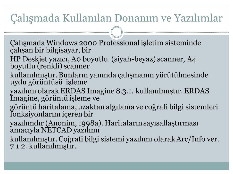 Çalışmada Kullanılan Donanım ve Yazılımlar Çalışmada Windows 2000 Professional işletim sisteminde çalışan bir bilgisayar, bir HP Deskjet yazıcı, A0 bo