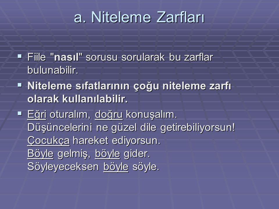a. Niteleme Zarfları  Fiile