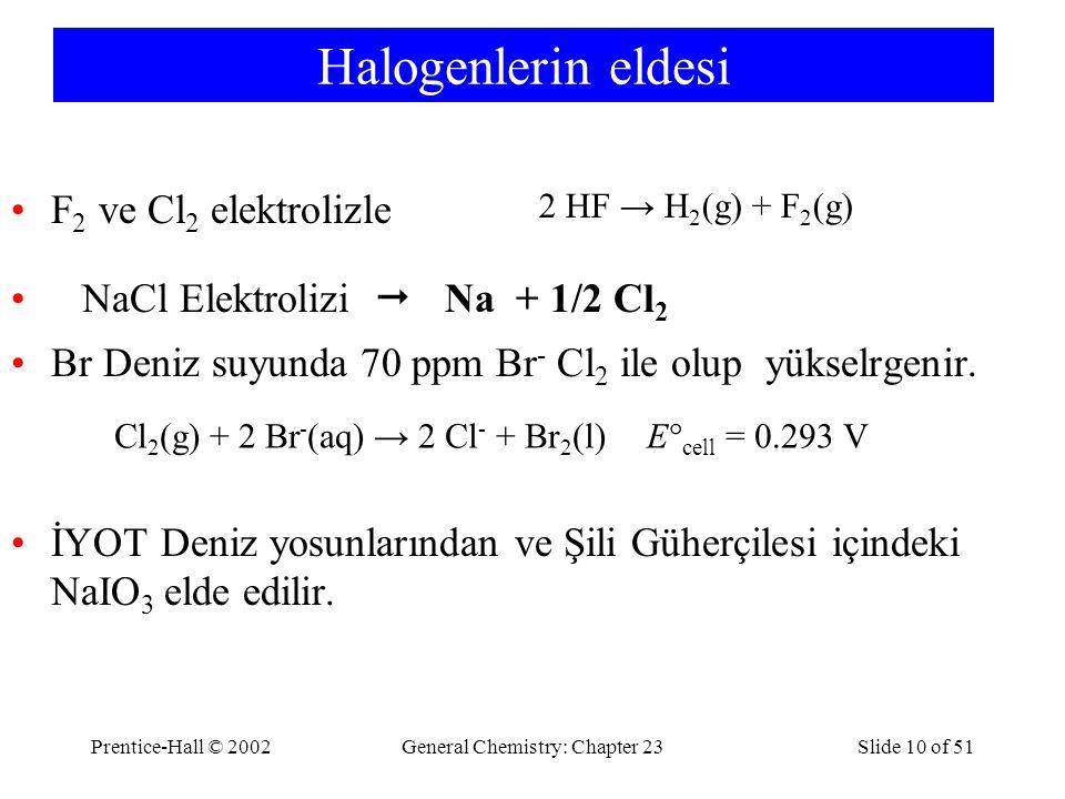 Prentice-Hall © 2002General Chemistry: Chapter 23Slide 10 of 51 Halogenlerin eldesi F 2 ve Cl 2 elektrolizle NaCl Elektrolizi  Na + 1/2 Cl 2 Br Deniz
