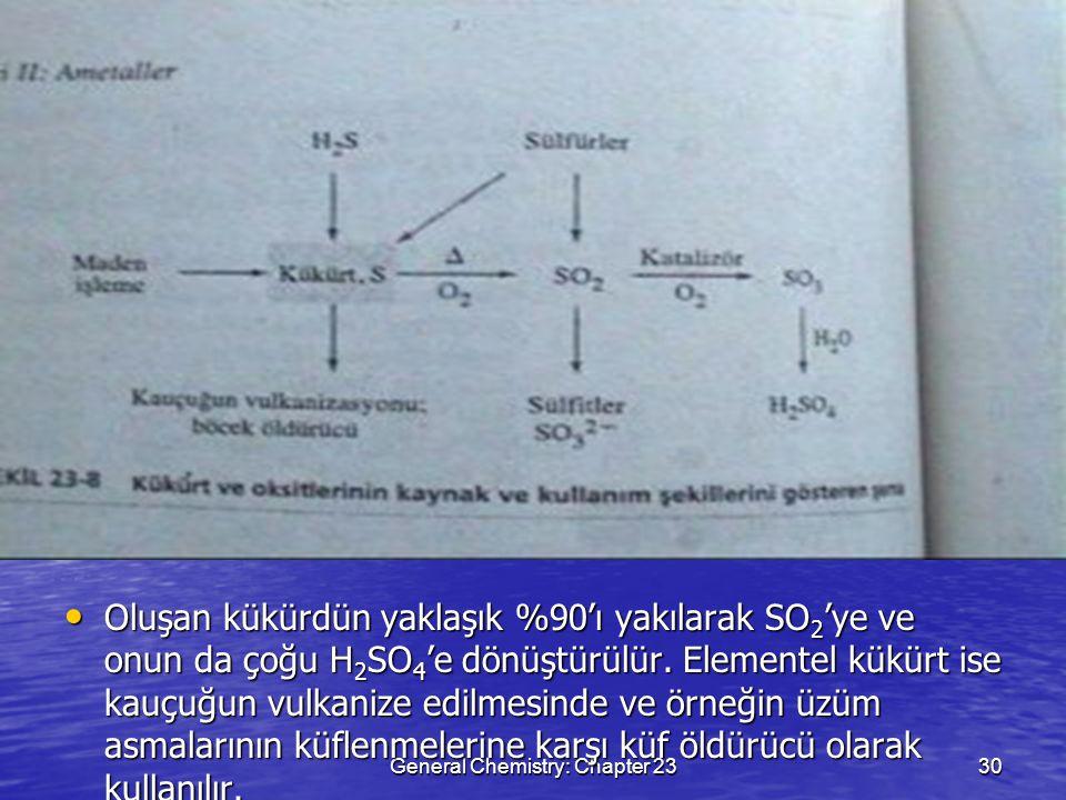 General Chemistry: Chapter 2330 Oluşan kükürdün yaklaşık %90'ı yakılarak SO 2 'ye ve onun da çoğu H 2 SO 4 'e dönüştürülür. Elementel kükürt ise kauçu