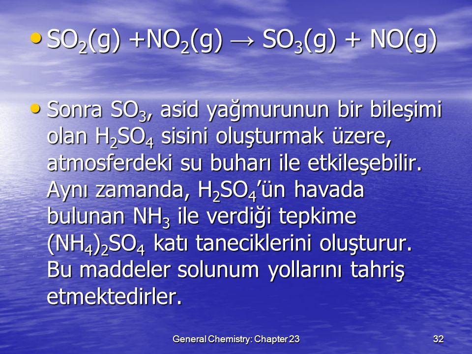 General Chemistry: Chapter 2332 SO 2 (g) +NO 2 (g) → SO 3 (g) + NO(g) SO 2 (g) +NO 2 (g) → SO 3 (g) + NO(g) Sonra SO 3, asid yağmurunun bir bileşimi o