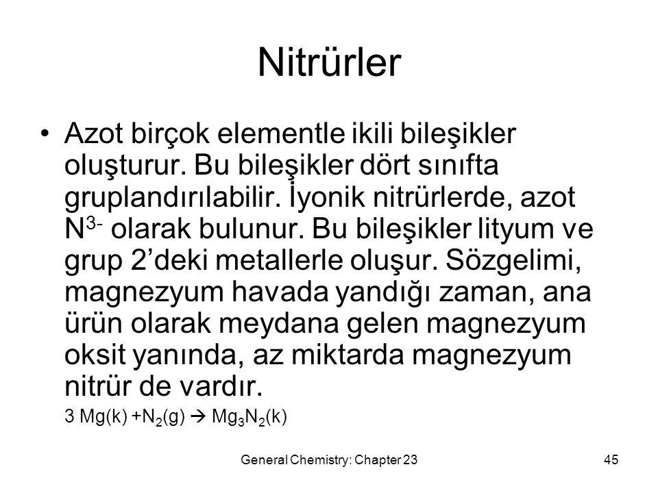 General Chemistry: Chapter 2345 Nitrürler Azot birçok elementle ikili bileşikler oluşturur. Bu bileşikler dört sınıfta gruplandırılabilir. İyonik nitr
