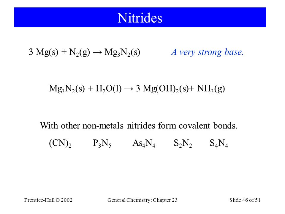 Prentice-Hall © 2002General Chemistry: Chapter 23Slide 46 of 51 Nitrides 3 Mg(s) + N 2 (g) → Mg 3 N 2 (s)A very strong base. Mg 3 N 2 (s) + H 2 O(l) →
