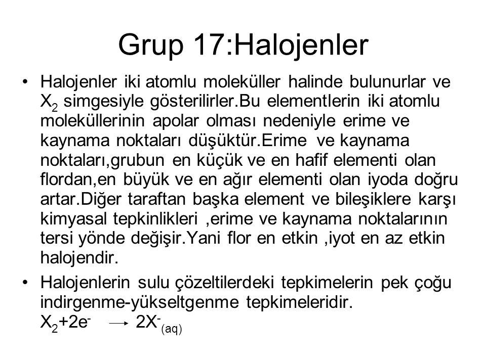 Grup 17:Halojenler Halojenler iki atomlu moleküller halinde bulunurlar ve X 2 simgesiyle gösterilirler.Bu elementlerin iki atomlu moleküllerinin apola