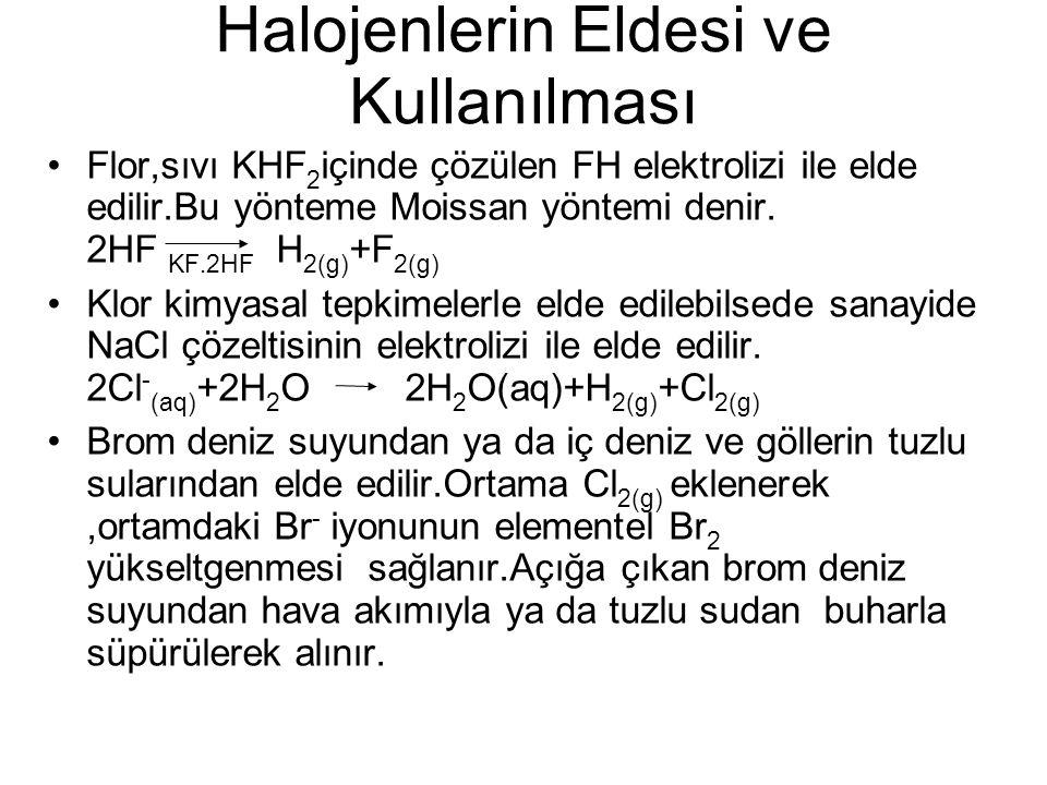 Halojenlerin Eldesi ve Kullanılması Flor,sıvı KHF 2 içinde çözülen FH elektrolizi ile elde edilir.Bu yönteme Moissan yöntemi denir. 2HF KF.2HF H 2(g)