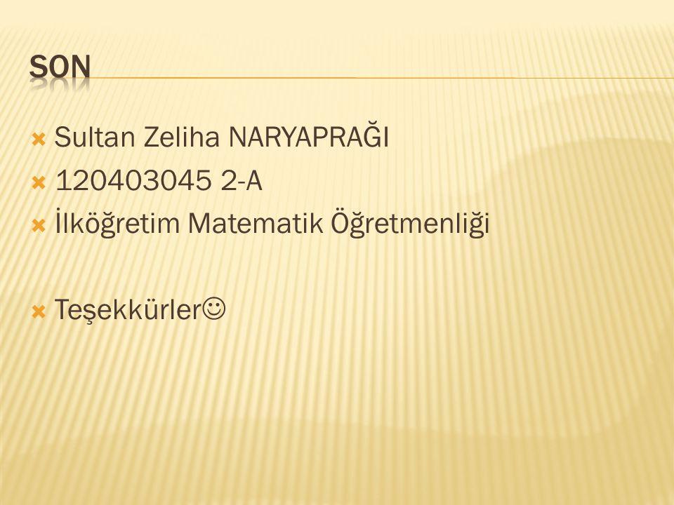  Sultan Zeliha NARYAPRAĞI  120403045 2-A  İlköğretim Matematik Öğretmenliği  Teşekkürler