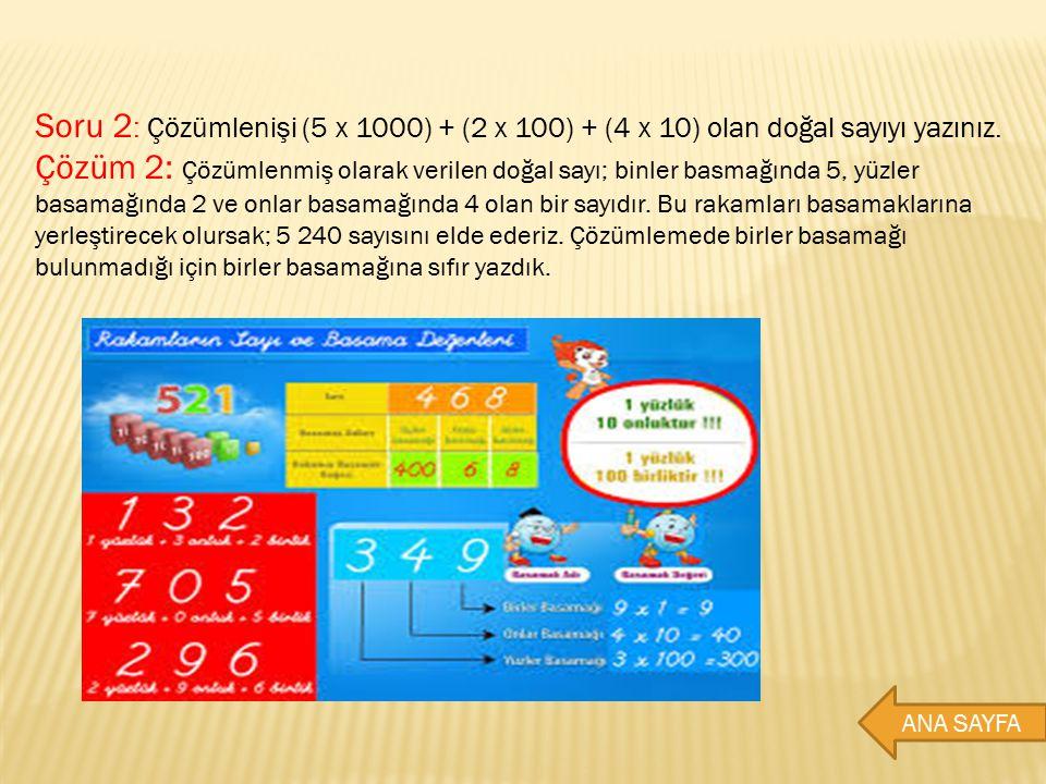 Soru 2 : Çözümlenişi (5 x 1000) + (2 x 100) + (4 x 10) olan doğal sayıyı yazınız. Çözüm 2: Çözümlenmiş olarak verilen doğal sayı; binler basmağında 5,