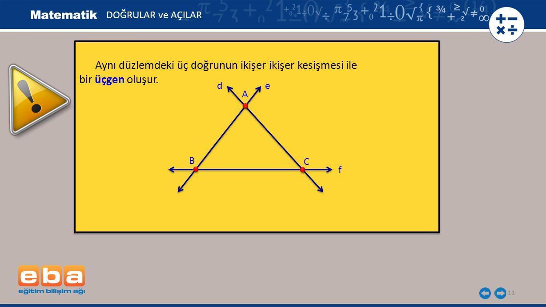 11 Aynı düzlemdeki üç doğrunun ikişer ikişer kesişmesi ile bir üçgen oluşur. Aynı düzlemdeki üç doğrunun ikişer ikişer kesişmesi ile bir üçgen oluşur.