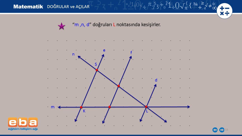 """15 """"m,n, d"""" doğruları L noktasında kesişirler. DOĞRULAR ve AÇILAR S KL e f m d n"""
