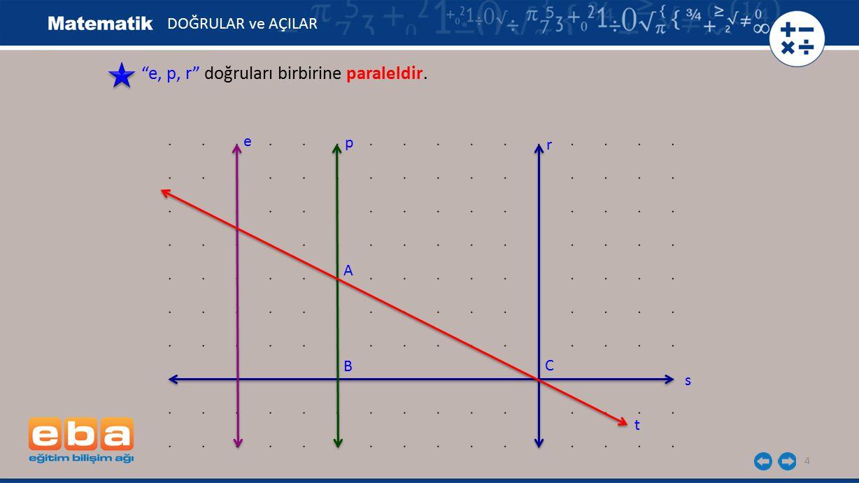 5 p,r, t doğrularında p, r birbirine paralel, t doğrusu p doğrusunu A noktasında, r doğrusunu C noktasında kesmektedir.