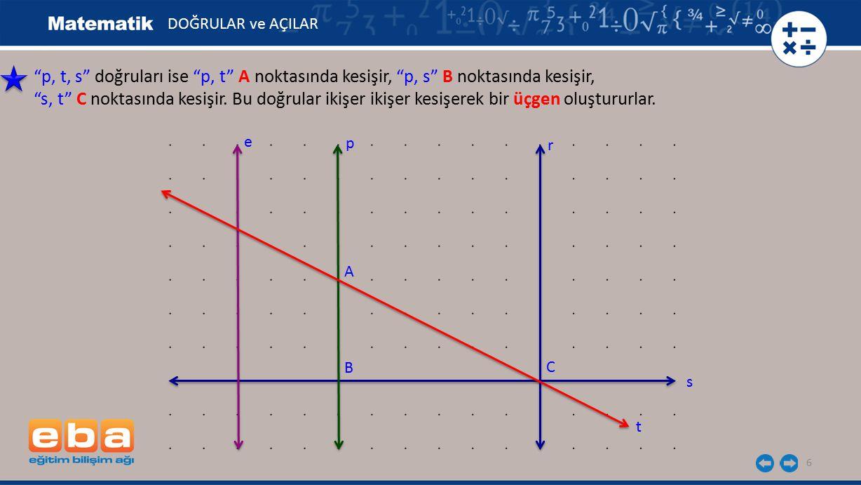 """6 """"p, t, s"""" doğruları ise """"p, t"""" A noktasında kesişir, """"p, s"""" B noktasında kesişir, """"s, t"""" C noktasında kesişir. Bu doğrular ikişer ikişer kesişerek b"""