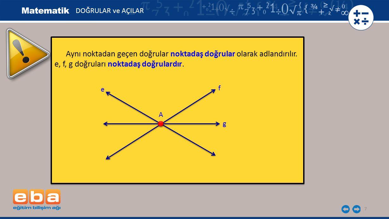 7 Aynı noktadan geçen doğrular noktadaş doğrular olarak adlandırılır. e, f, g doğruları noktadaş doğrulardır. Aynı noktadan geçen doğrular noktadaş do