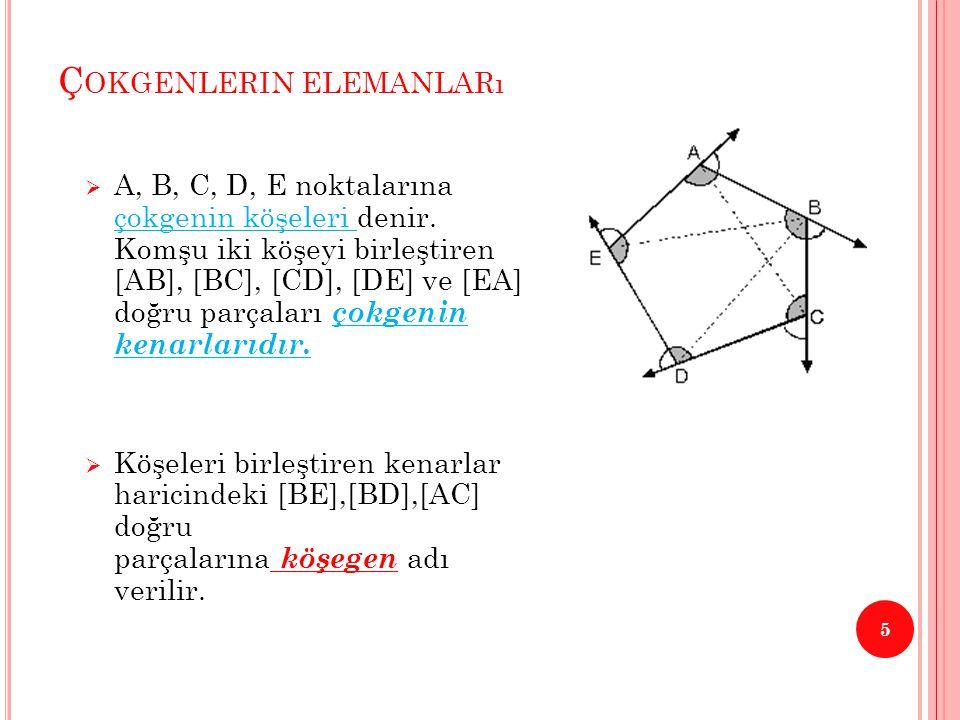 D ÜZGÜN Ç OKGENLER 6  Bütün kenarlarının uzunlukları eşit ve bütün açılarının ölçüleri eşit olan çokgenlere düzgün çokgen denir.