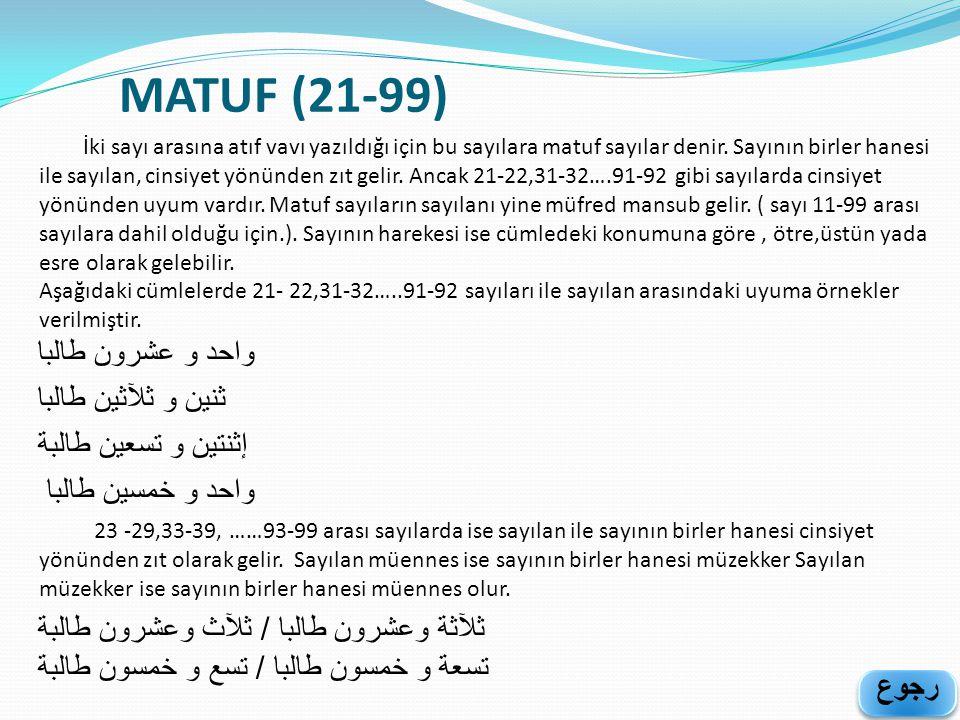 MATUF (21-99) İki sayı arasına atıf vavı yazıldığı için bu sayılara matuf sayılar denir. Sayının birler hanesi ile sayılan, cinsiyet yönünden zıt geli