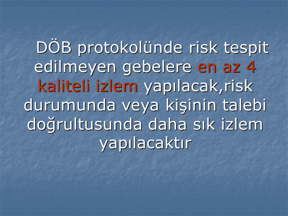DÖB protokolünde risk tespit edilmeyen gebelere en az 4 kaliteli izlem yapılacak,risk durumunda veya kişinin talebi doğrultusunda daha sık izlem yapılacaktır DÖB protokolünde risk tespit edilmeyen gebelere en az 4 kaliteli izlem yapılacak,risk durumunda veya kişinin talebi doğrultusunda daha sık izlem yapılacaktır