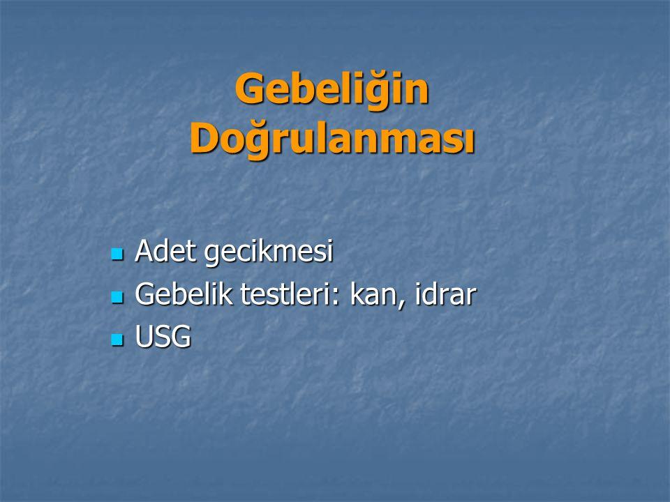 Gebeliğin Doğrulanması Adet gecikmesi Adet gecikmesi Gebelik testleri: kan, idrar Gebelik testleri: kan, idrar USG USG