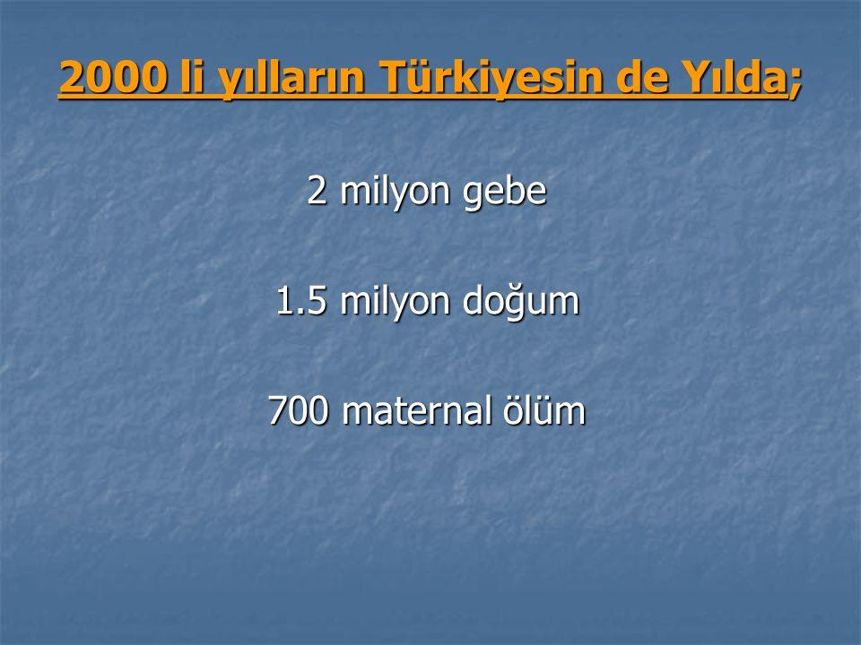 2000 li yılların Türkiyesin de Yılda; 2 milyon gebe 1.5 milyon doğum 700 maternal ölüm