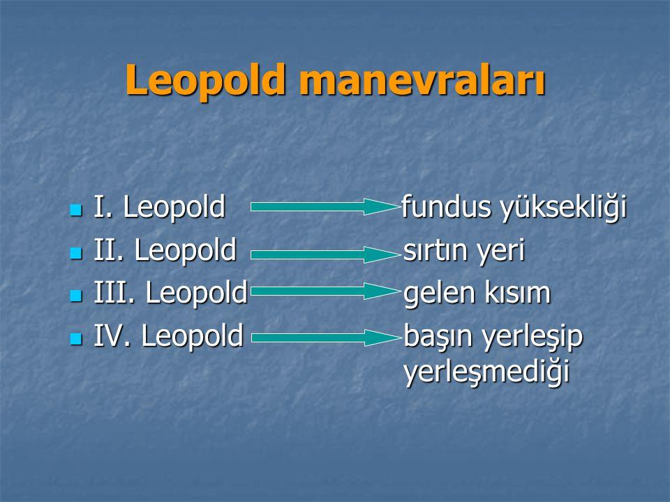 Leopold manevraları I. Leopold fundus yüksekliği I. Leopold fundus yüksekliği II. Leopoldsırtın yeri II. Leopoldsırtın yeri III. Leopoldgelen kısım II