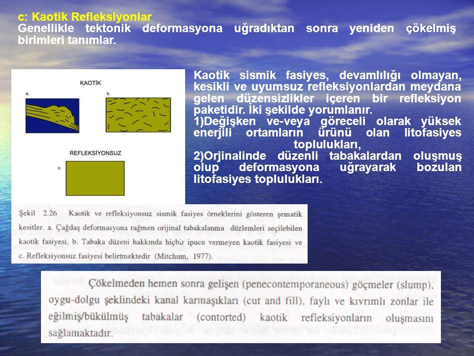 c: Kaotik Refleksiyonlar Genellikle tektonik deformasyona uğradıktan sonra yeniden çökelmiş birimleri tanımlar.