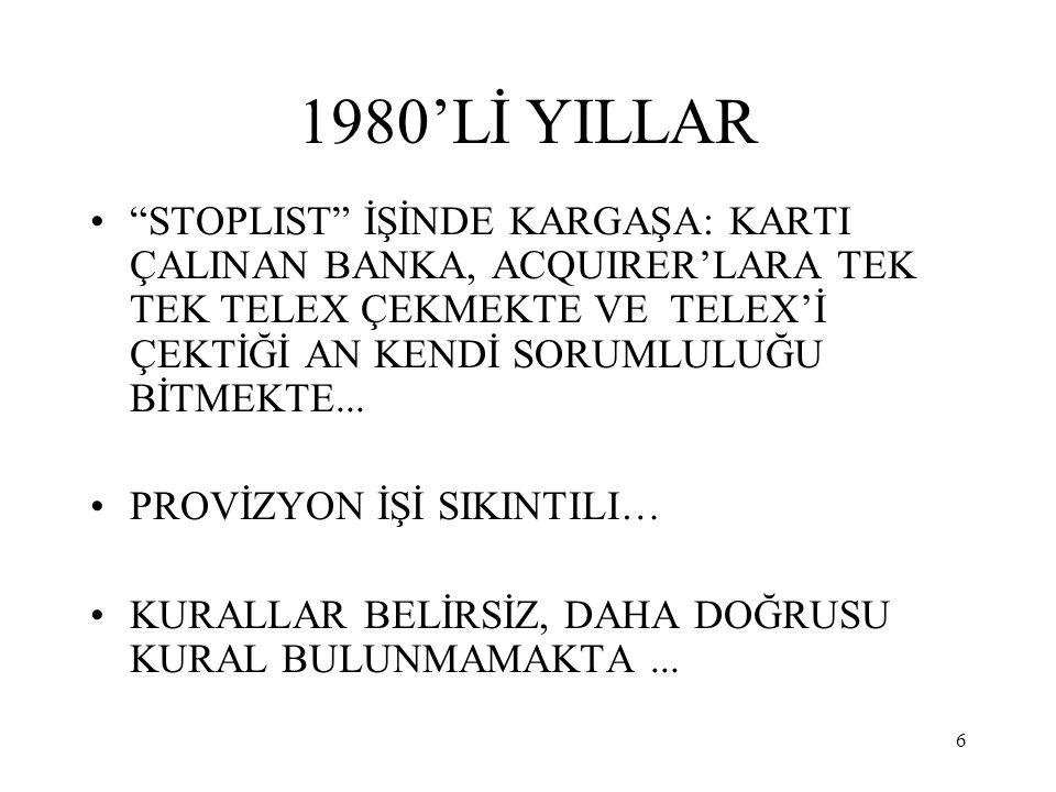 """6 1980'Lİ YILLAR """"STOPLIST"""" İŞİNDE KARGAŞA: KARTI ÇALINAN BANKA, ACQUIRER'LARA TEK TEK TELEX ÇEKMEKTE VE TELEX'İ ÇEKTİĞİ AN KENDİ SORUMLULUĞU BİTMEKTE"""