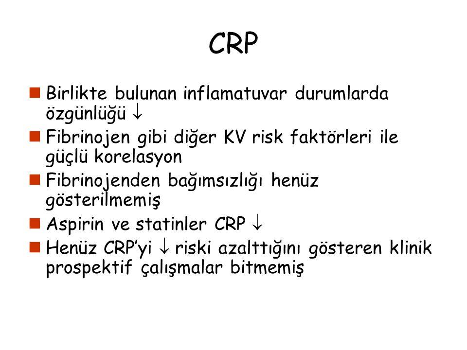 CRP Birlikte bulunan inflamatuvar durumlarda özgünlüğü  Fibrinojen gibi diğer KV risk faktörleri ile güçlü korelasyon Fibrinojenden bağımsızlığı henü
