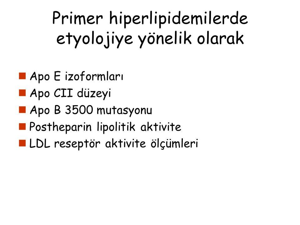 Primer hiperlipidemilerde etyolojiye yönelik olarak Apo E izoformları Apo CII düzeyi Apo B 3500 mutasyonu Postheparin lipolitik aktivite LDL reseptör