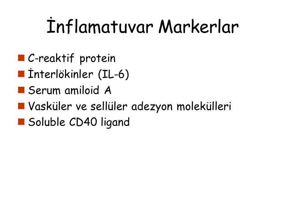 İnflamatuvar Markerlar C-reaktif protein İnterlökinler (IL-6) Serum amiloid A Vasküler ve sellüler adezyon molekülleri Soluble CD40 ligand