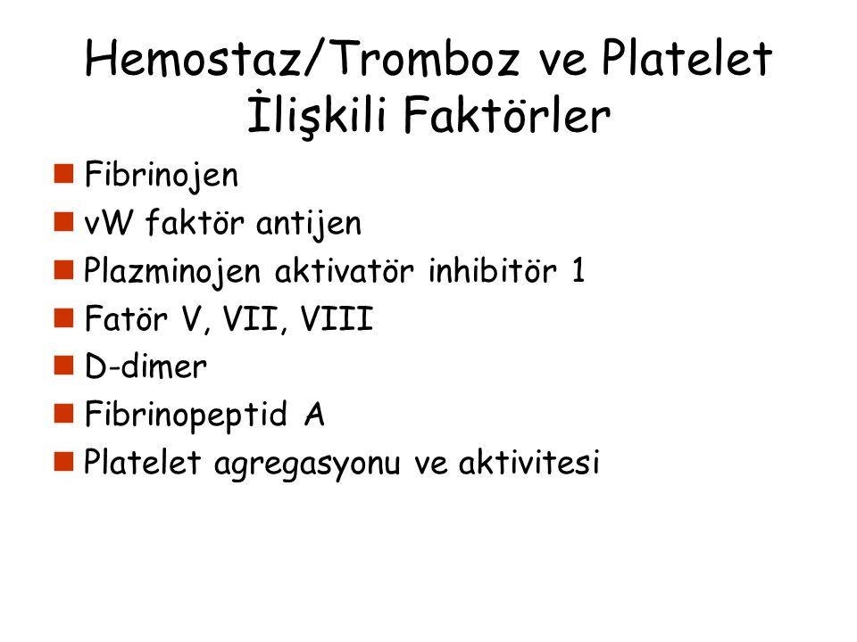 Hemostaz/Tromboz ve Platelet İlişkili Faktörler Fibrinojen vW faktör antijen Plazminojen aktivatör inhibitör 1 Fatör V, VII, VIII D-dimer Fibrinopepti