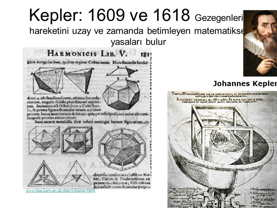 Kepler: 1609 ve 1618 Gezegenlerin hareketini uzay ve zamanda betimleyen matematiksel yasaları bulur Johannes Kepler (1571-1630 www.brackwedergymnasium