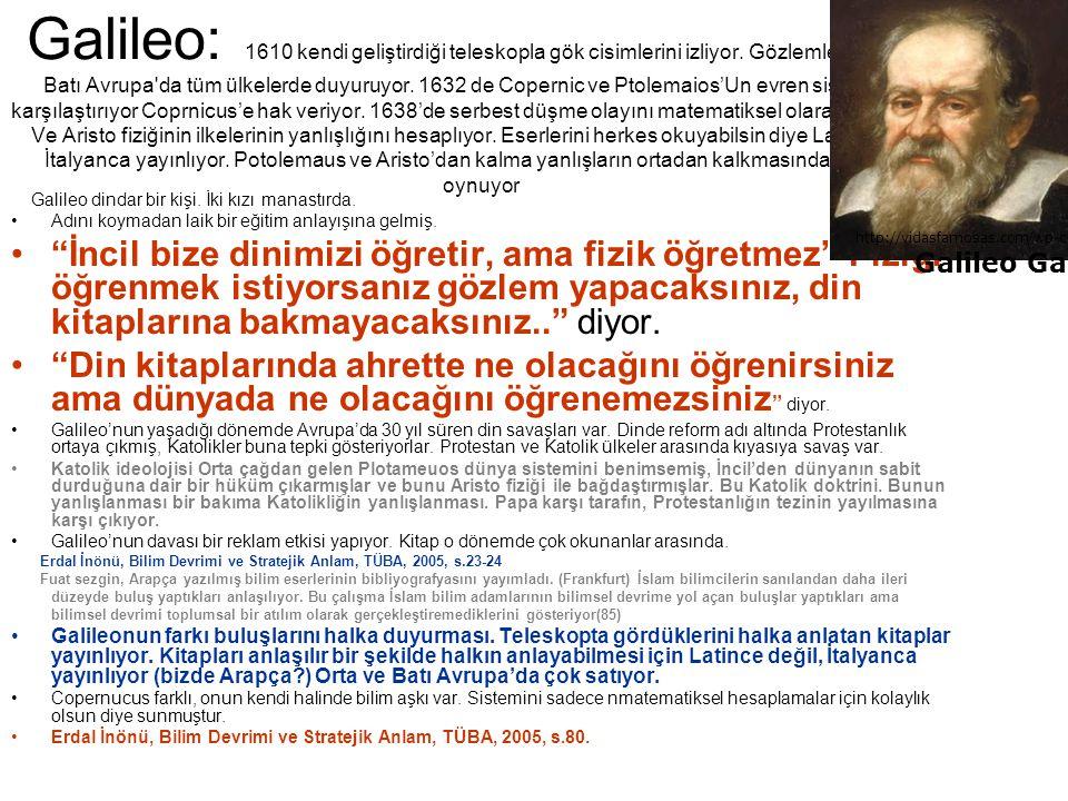 Galileo: 1610 kendi geliştirdiği teleskopla gök cisimlerini izliyor. Gözlemlerini orta ve Batı Avrupa'da tüm ülkelerde duyuruyor. 1632 de Copernic ve