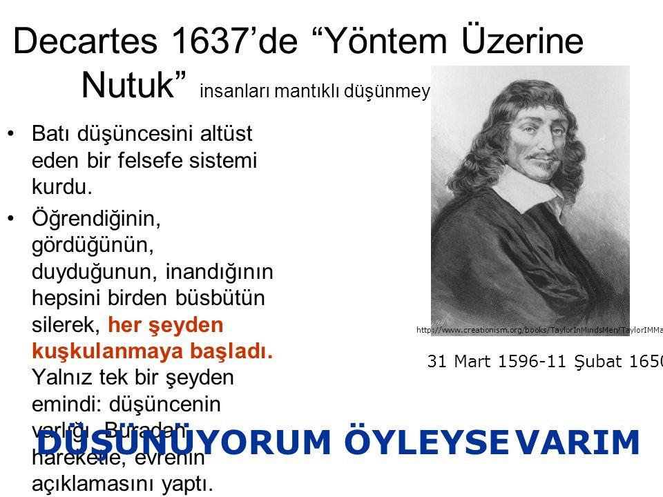 """Decartes 1637'de """"Yöntem Üzerine Nutuk"""" insanları mantıklı düşünmeye çağırıyor Batı düşüncesini altüst eden bir felsefe sistemi kurdu. Öğrendiğinin, g"""