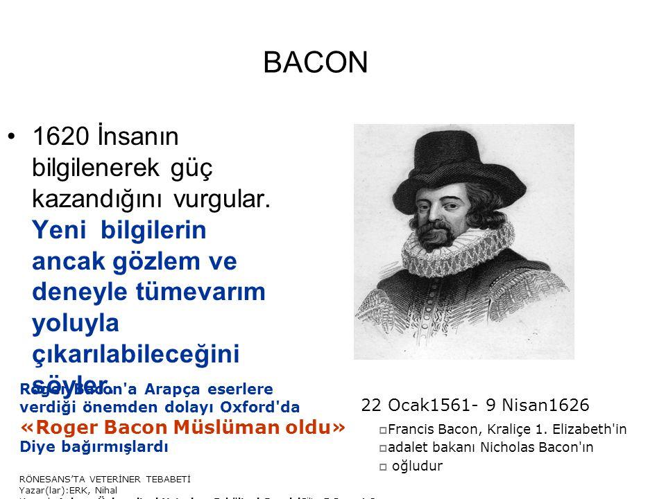 BACON 1620 İnsanın bilgilenerek güç kazandığını vurgular. Yeni bilgilerin ancak gözlem ve deneyle tümevarım yoluyla çıkarılabileceğini söyler. 22 Ocak