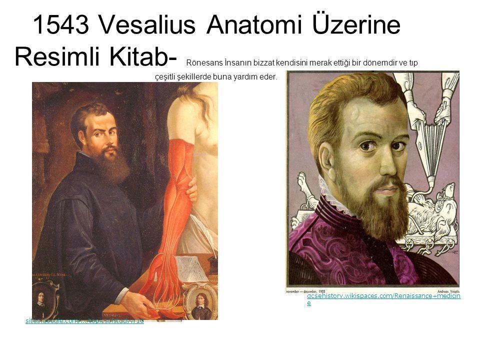 1543 Vesalius Anatomi Üzerine Resimli Kitab- Rönesans İnsanın bizzat kendisini merak ettiği bir dönemdir ve tıp çeşitli şekillerde buna yardım eder. g