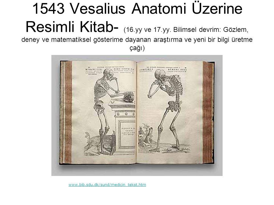 1543 Vesalius Anatomi Üzerine Resimli Kitab- (16.yy ve 17.yy. Bilimsel devrim: Gözlem, deney ve matematiksel gösterime dayanan araştırma ve yeni bir b