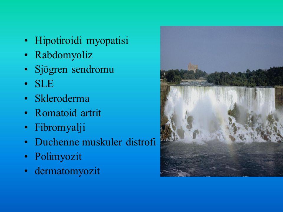 Hipotiroidi myopatisi Rabdomyoliz Sjögren sendromu SLE Skleroderma Romatoid artrit Fibromyalji Duchenne muskuler distrofi Polimyozit dermatomyozit