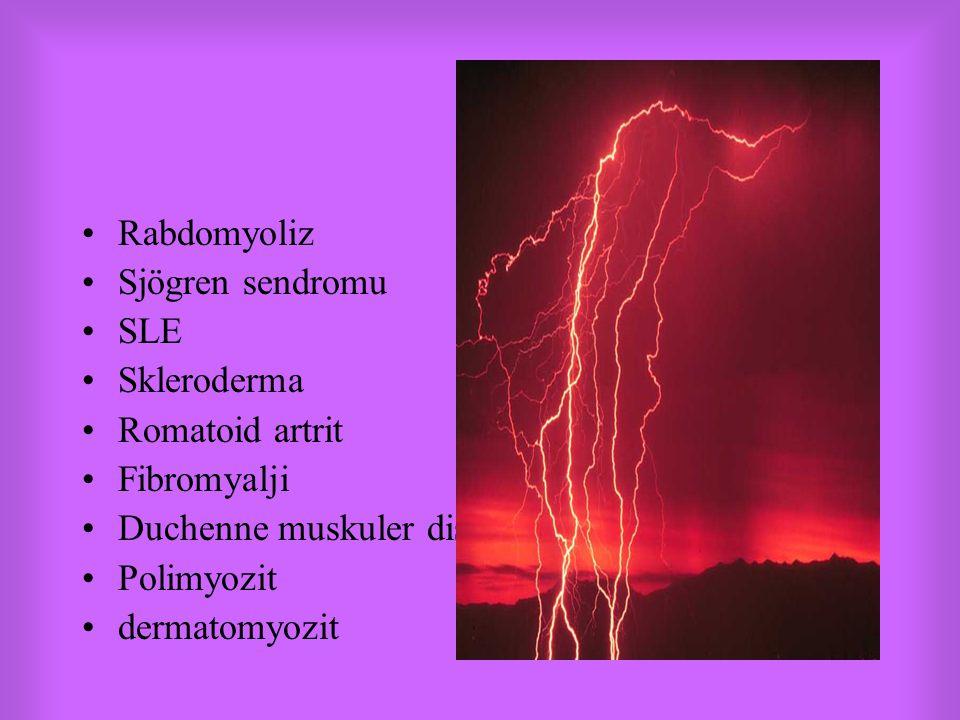 Rabdomyoliz Sjögren sendromu SLE Skleroderma Romatoid artrit Fibromyalji Duchenne muskuler distrofi Polimyozit dermatomyozit
