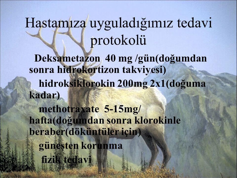 Hastamıza uyguladığımız tedavi protokolü Deksametazon 40 mg /gün(doğumdan sonra hidrokortizon takviyesi) hidroksiklorokin 200mg 2x1(doğuma kadar) meth