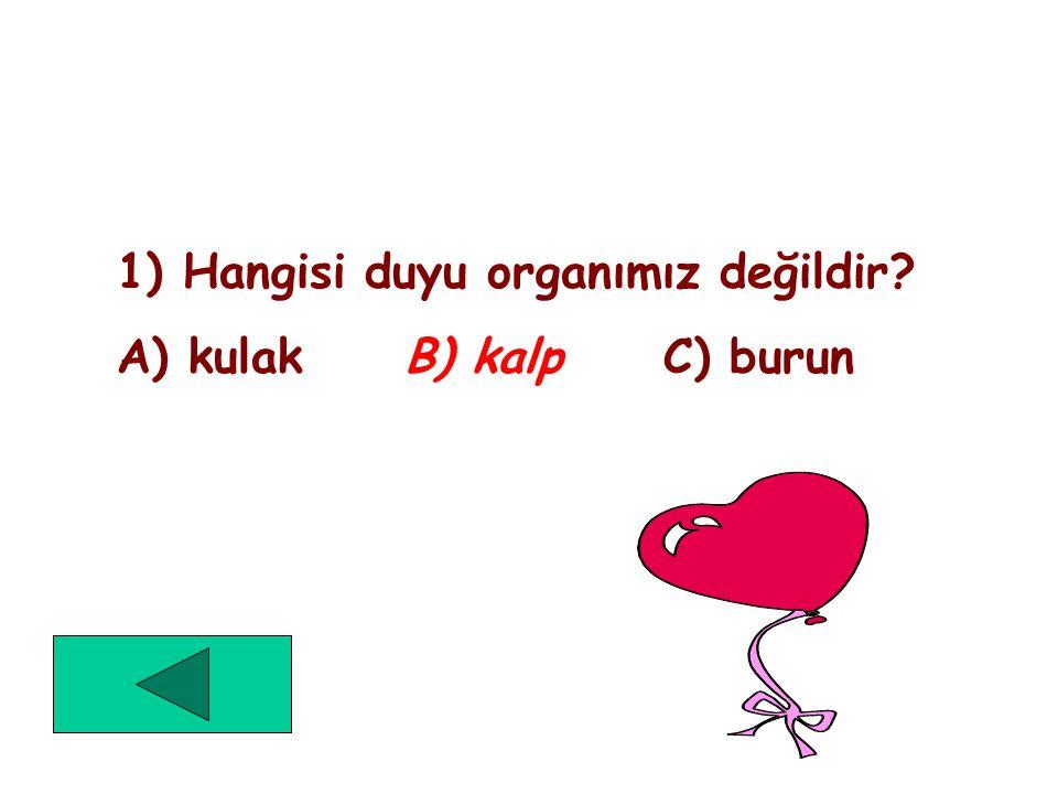 Aşağıdaki seçeneklerden biri doğru ikisi yanlıştır. Doğru olan seçeneği işaretleyelim. 1) Hangisi duyu organlarımızdan değildir? A) kulak B) kalp C) b