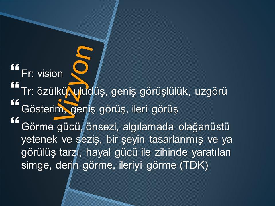 Vizyon  Fr: vision  Tr: özülkü, uludüş, geniş görüşlülük, uzgörü  Gösterim, geniş görüş, ileri görüş  Görme gücü, önsezi, algılamada olağanüstü ye