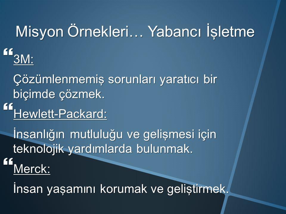 M isyon Ö rnekleri … Yabancı İşletme  3M: Çözümlenmemiş sorunları yaratıcı bir biçimde çözmek.  Hewlett-Packard: İnsanlığın mutluluğu ve gelişmesi i