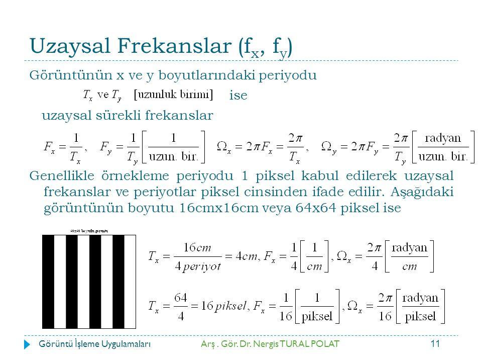 11 Uzaysal Frekanslar (f x, f y ) Görüntünün x ve y boyutlarındaki periyodu ise uzaysal sürekli frekanslar Genellikle örnekleme periyodu 1 piksel kabu