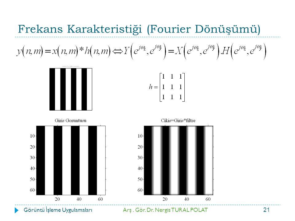 21 Frekans Karakteristiği (Fourier Dönüşümü) Arş. Gör. Dr. Nergis TURAL POLATGörüntü İ şleme Uygulamaları