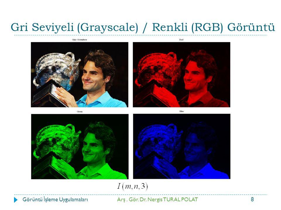 8 Arş. Gör. Dr. Nergis TURAL POLATGörüntü İ şleme Uygulamaları Gri Seviyeli (Grayscale) / Renkli (RGB) Görüntü