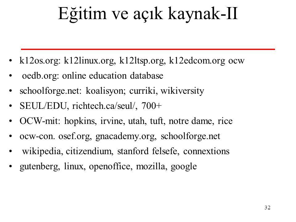 32 Eğitim ve açık kaynak-II k12os.org: k12linux.org, k12ltsp.org, k12edcom.org ocw oedb.org: online education database schoolforge.net: koalisyon; cur